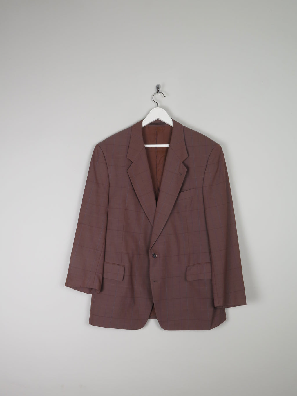 Mens Tan Brown Check Tailored Jacket 42/44 Chest sleeves 24 (s)