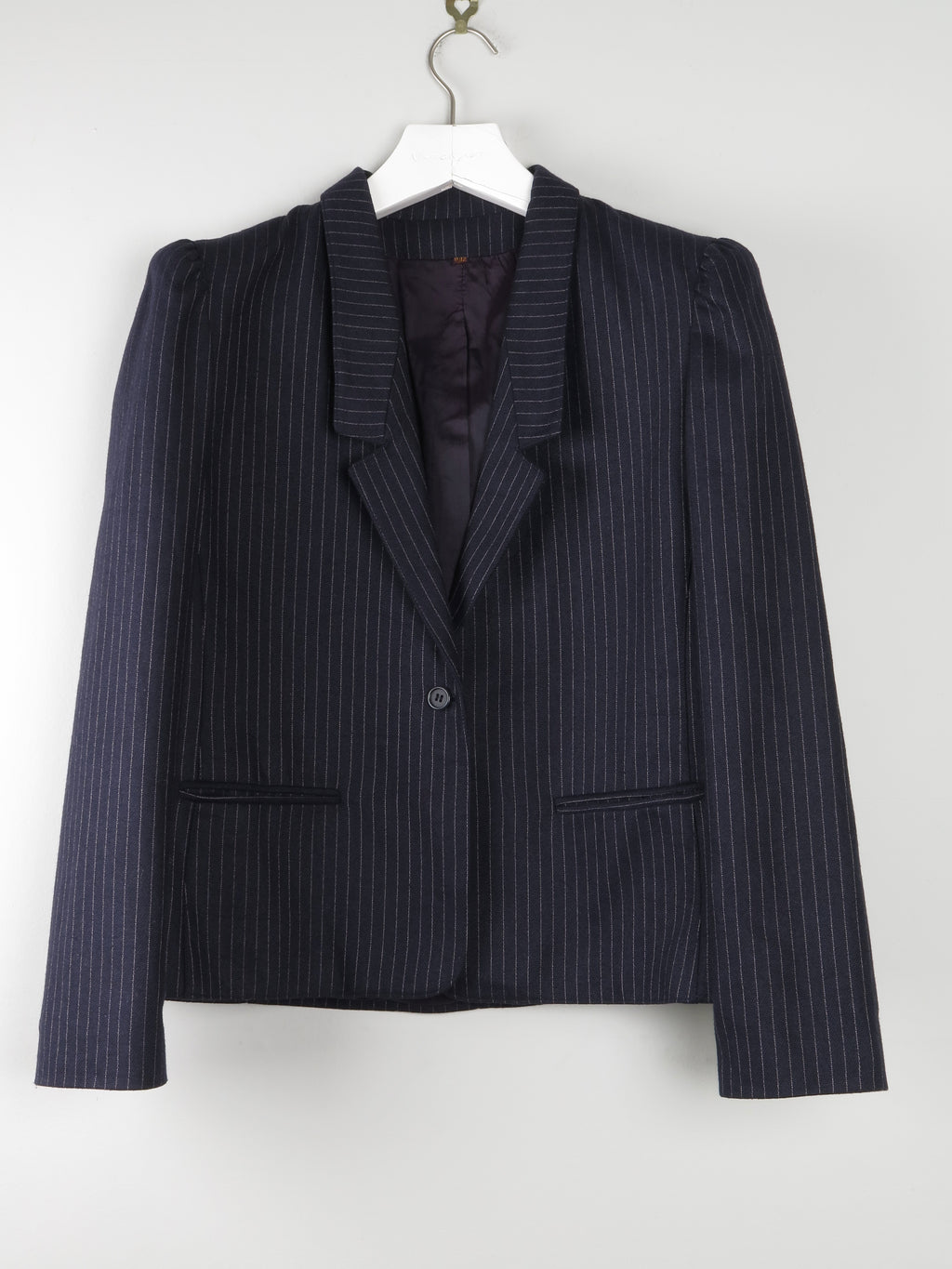 Pinstriped Navy Jacket With Puff Shoulder Details S/M