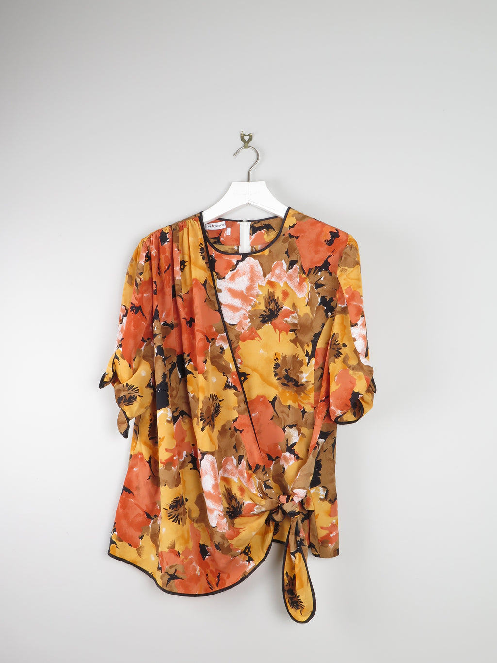 Hardrobe Yellow  & Orange Printed Blouse With Crossover Detail L