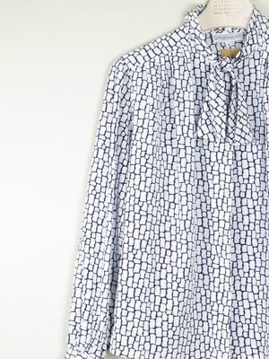 Blue & White Graphic Print Tie Neck Blouse M/L