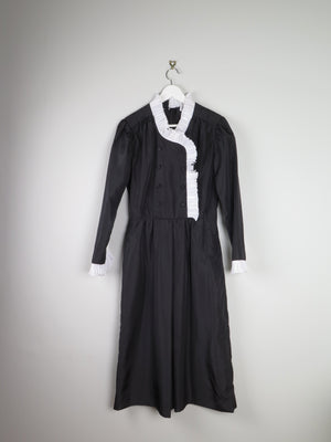 Black Taffeta Vintage Dress With Collar & Cuff Detailling S