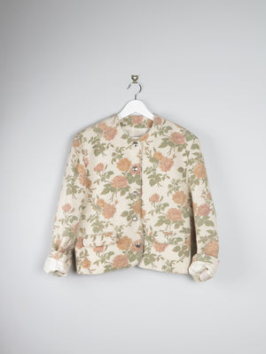 Floral Printed Wool 80s Jacket L