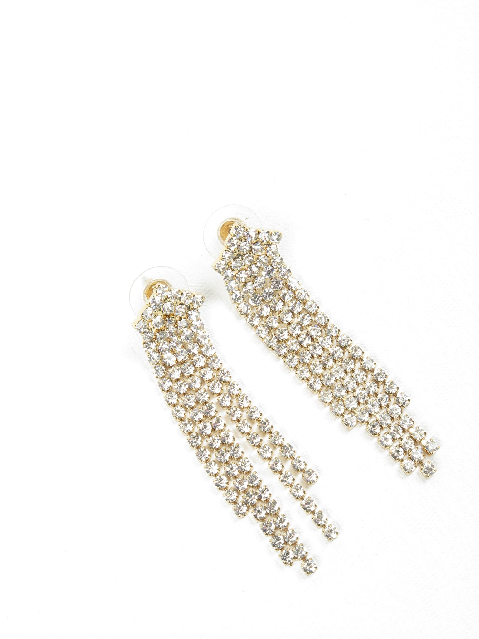 Gold Coloured & Diamante Chandelier Earrings