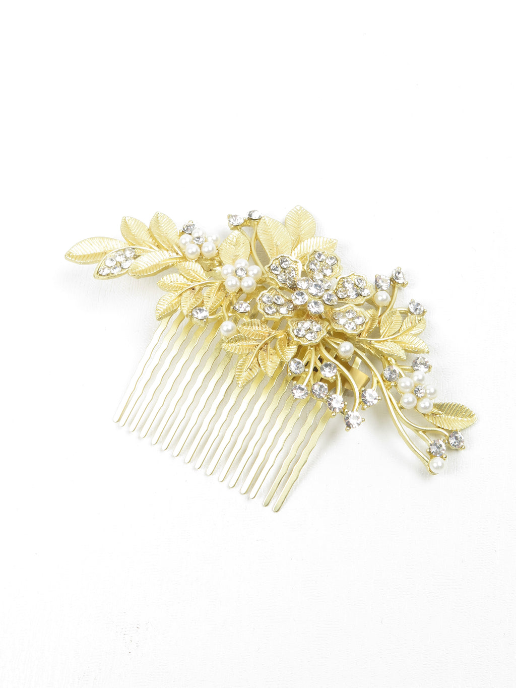 Large Yellow Gold & Diamante Hair Comb