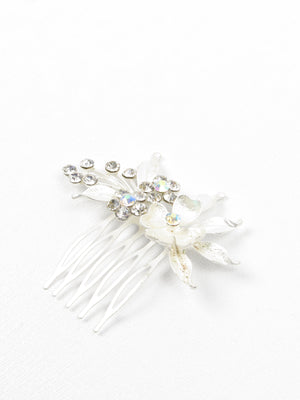 Silver & Floral Small Hair Comb