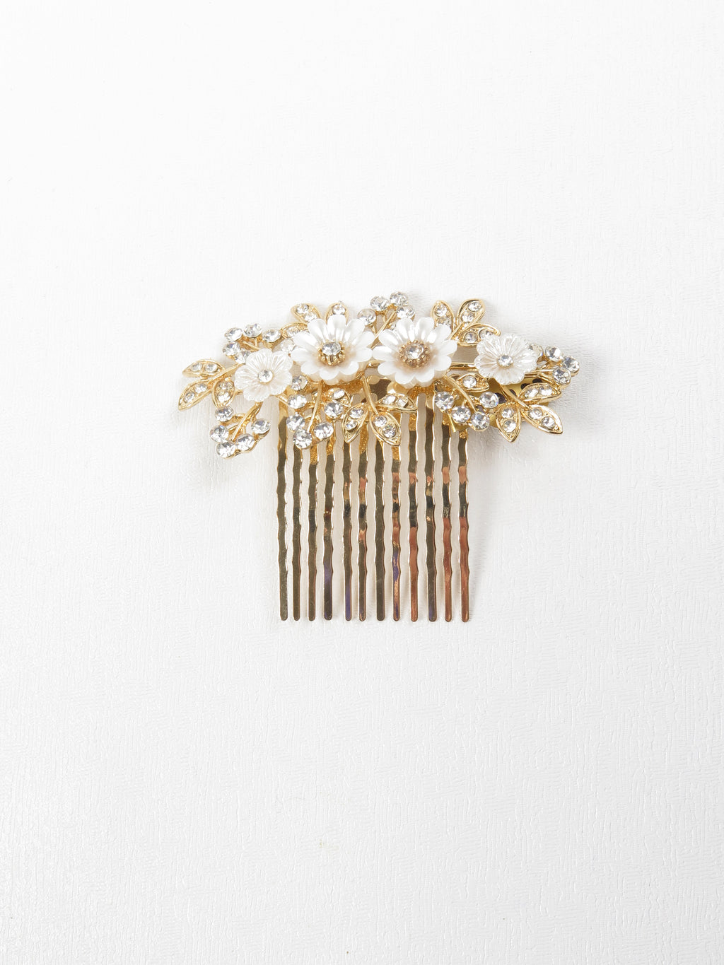 Gold Floral & Diamante Hair Comb