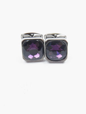 Purple Glass & Silver Cufflinks