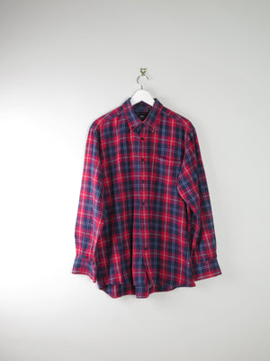 Men's Red & Navy Checked Flannel Shirt L/XL