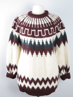 Mens Fairisle Style Greek Traditional jumper Wool M/L