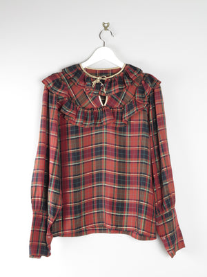 Wine Check Frilly Vintage Blouse 10