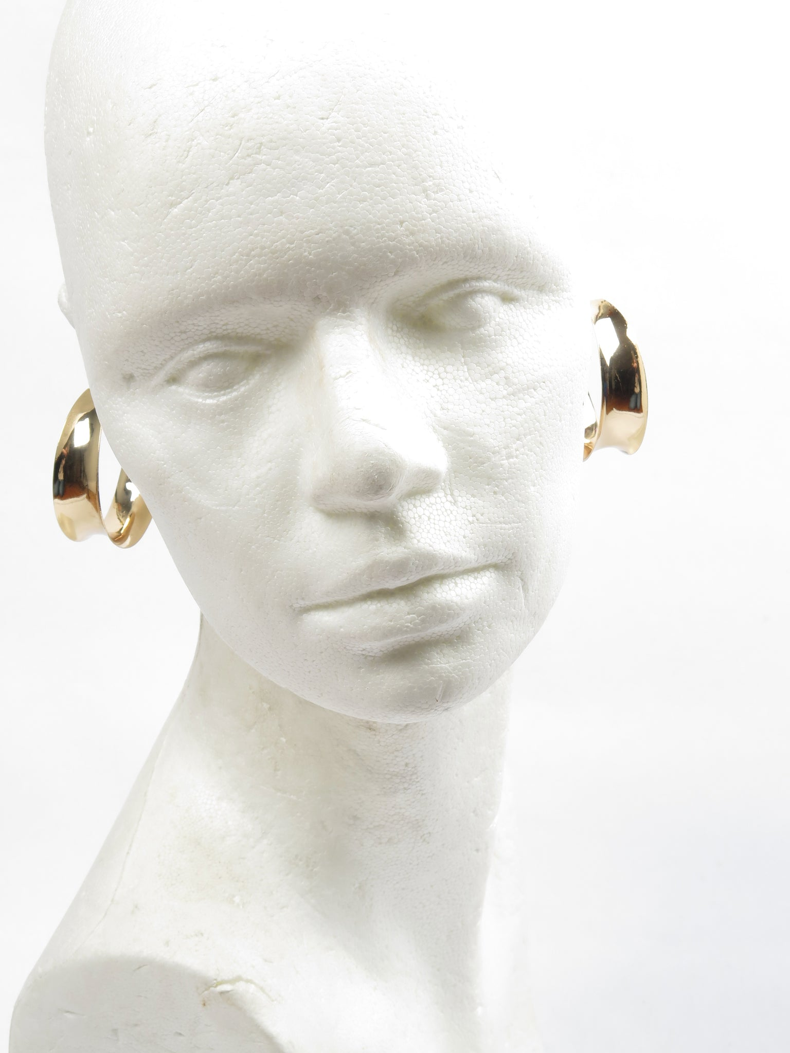 Gold Coloured Hoop Earrings Wide Design