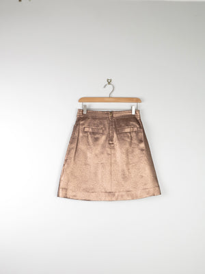 Marc Jacobs New Bronze Matailc Skirt 6 26""