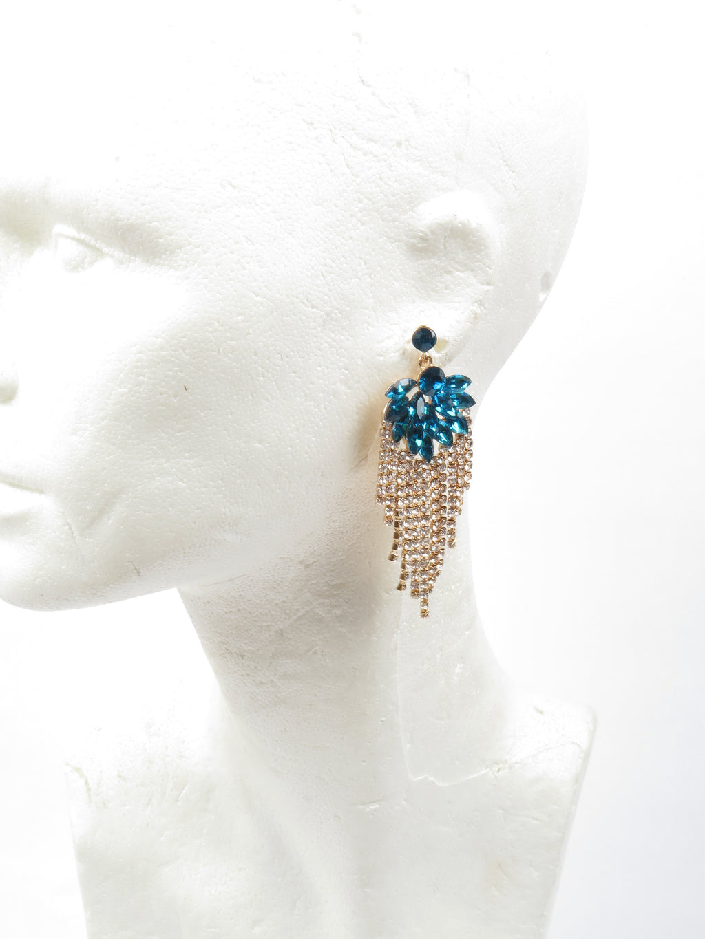 Petrol Blue & Diamante Chandelier Earrings