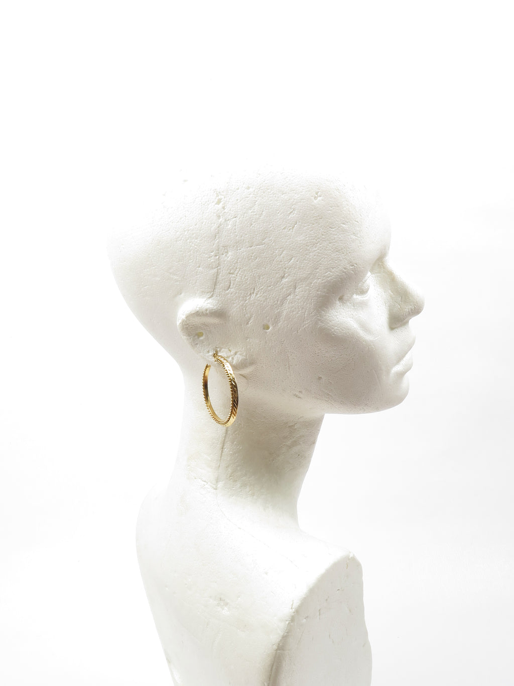 Gold Coloured Metal Hoop Earrings M