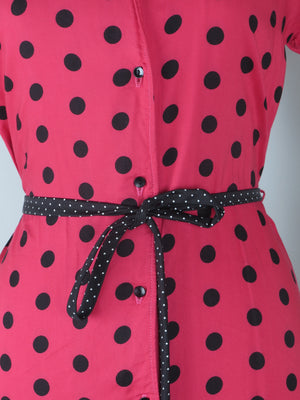 Dark Pink 1950s Polka Dot Dress Size:10