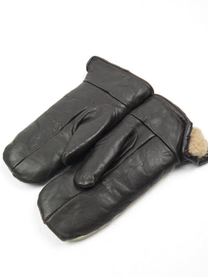 Leather Glove/Mittens With Cosy Lining S/M