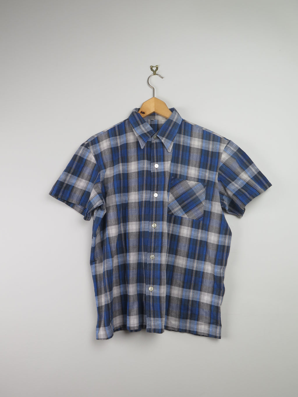Mens Blue Check 1960s Shirt XS