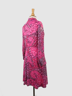 Pink 1960s Dress With Floral Pattern 10/12