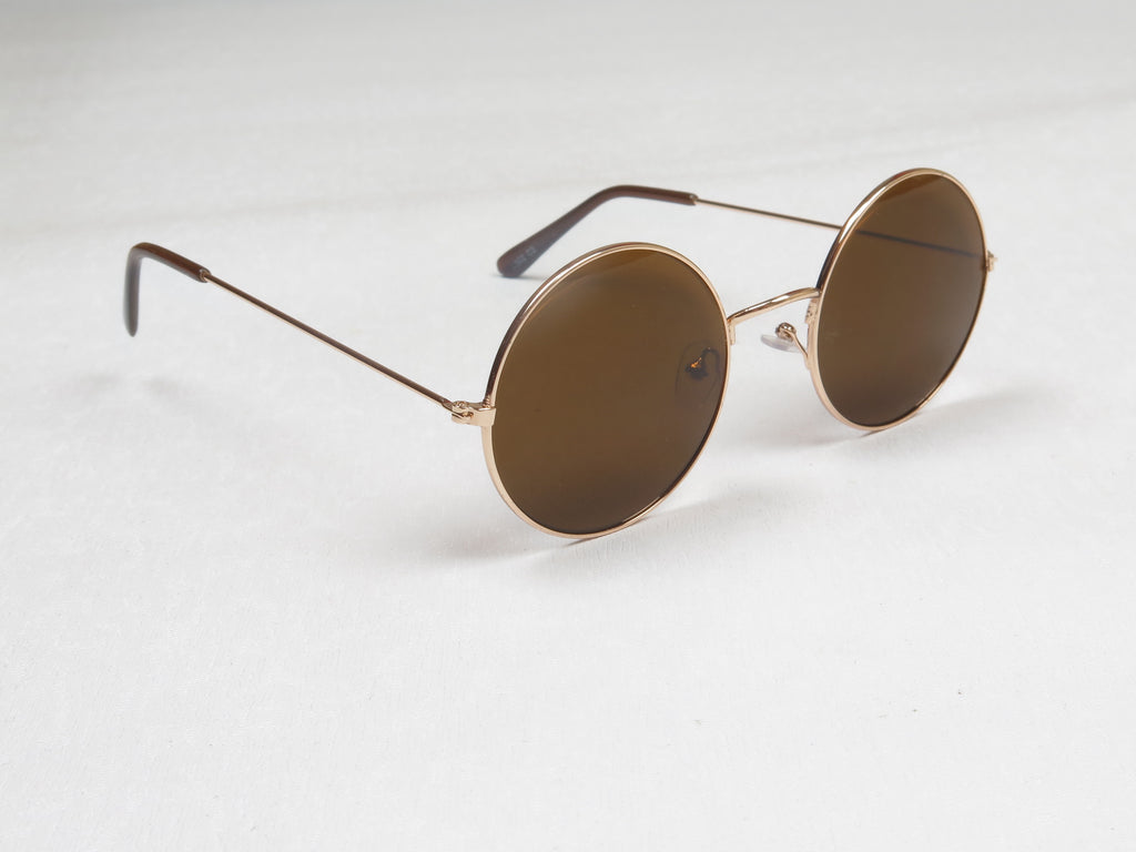 Gold Framed Lennon Sunglasses with Brown Lenses  (Medium)