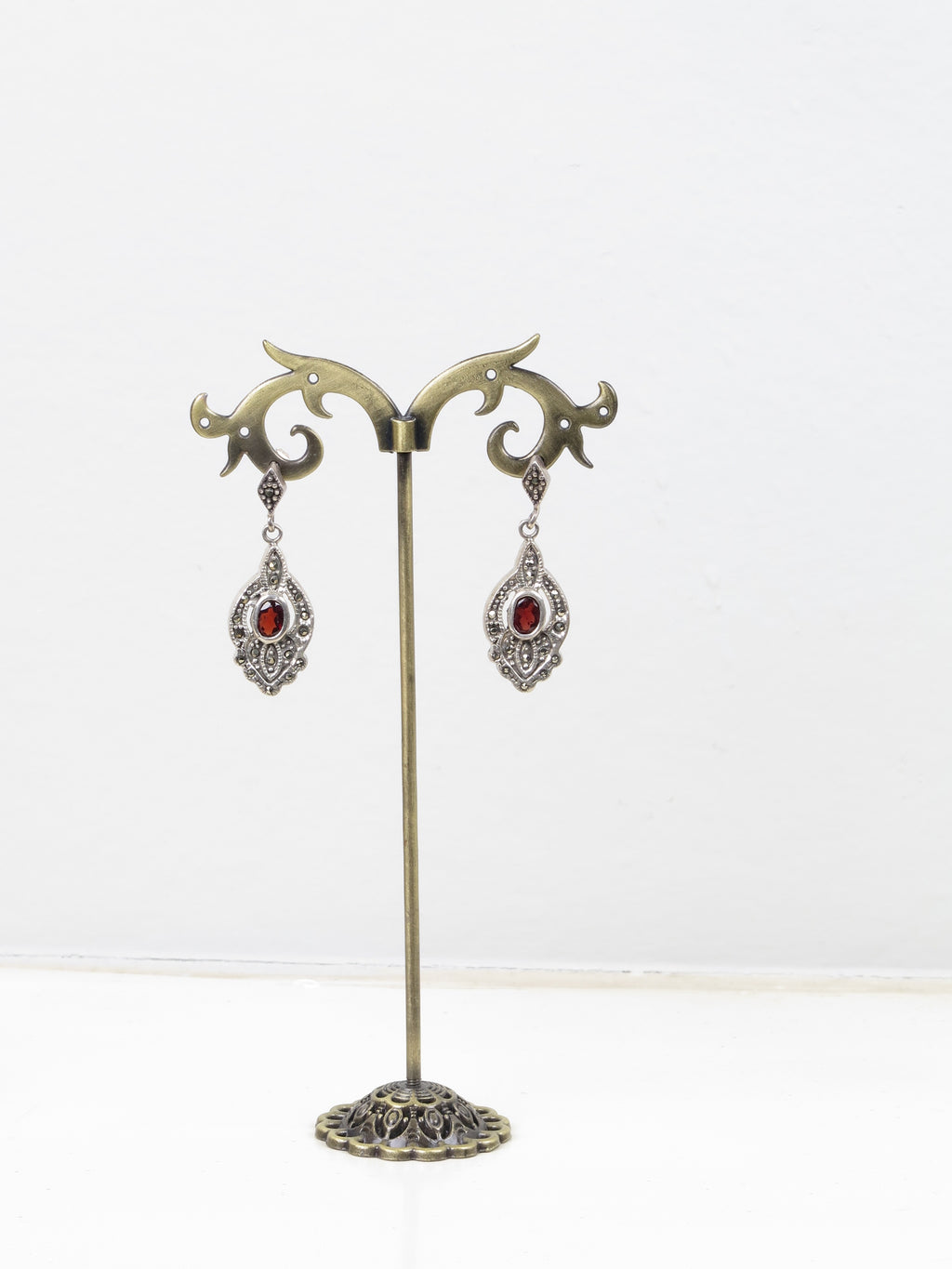 Marcacite & Garnet Art Deco Style Earrings