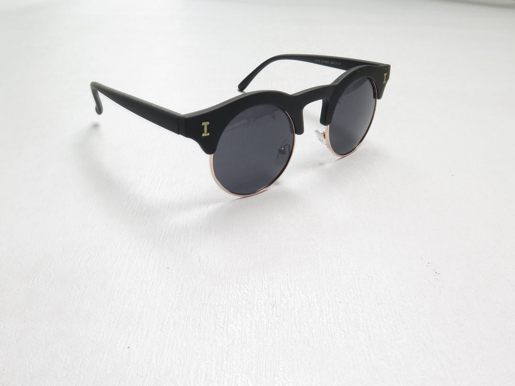 Clubmaster Style Sunglasses With Round Lenses Black/Brown