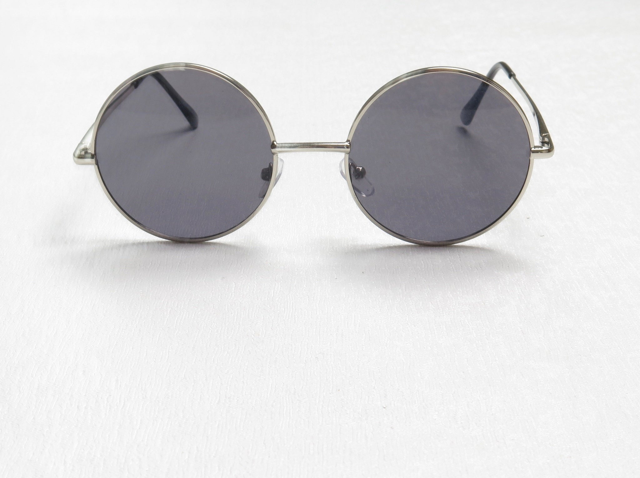 Silver Lennon Sunglasses With Light Black Lenses  (Medium)
