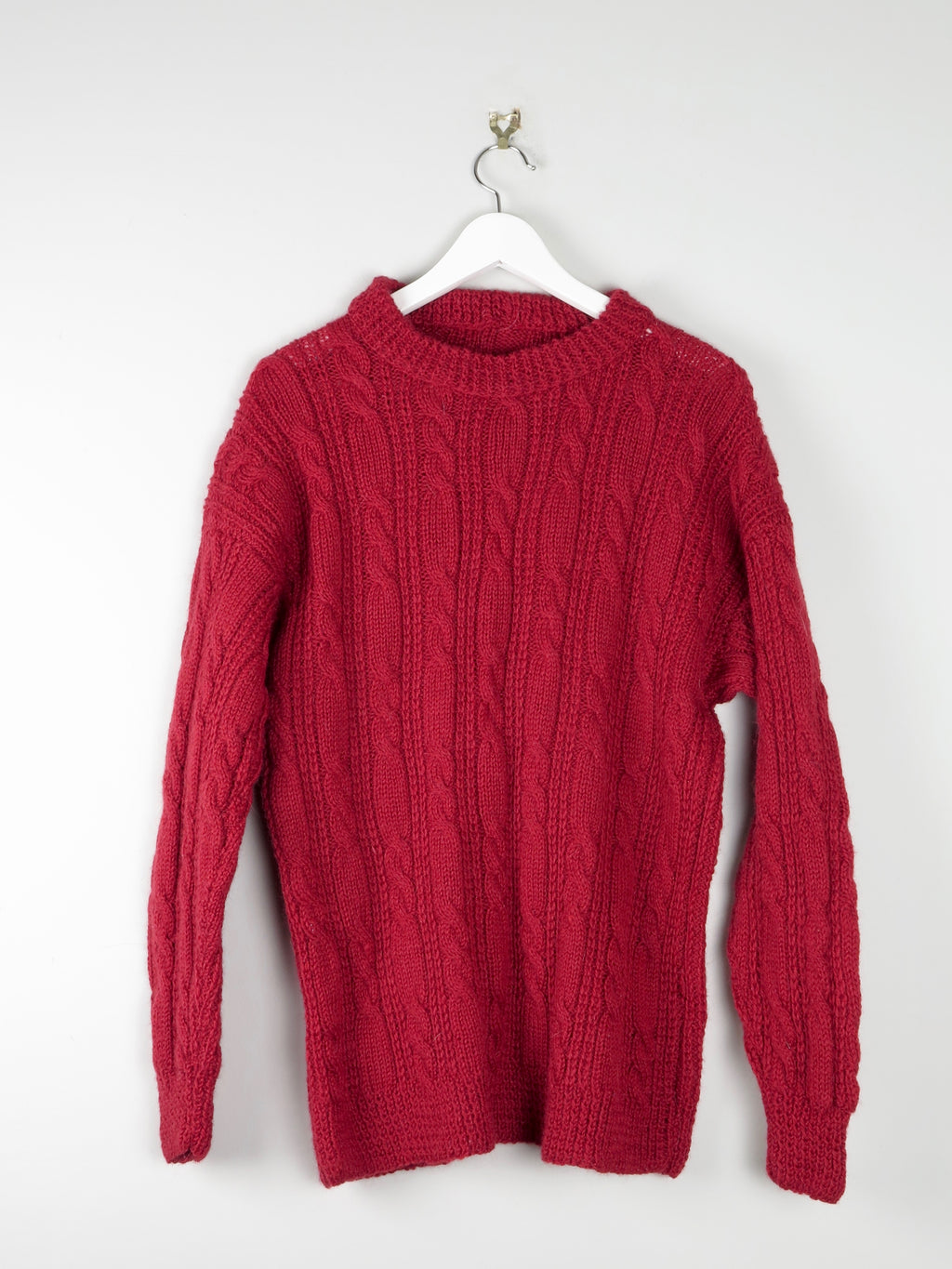 Wine Mens Handknit Jumper S