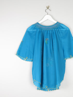 Turquoise 1970s Hippie Embroidered Top M