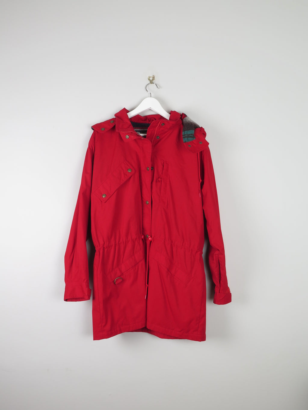 Mens US Cherry Red Short Parka Jacket M/L