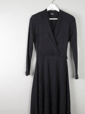 Charcoal Grey Wrapover Style Dress S