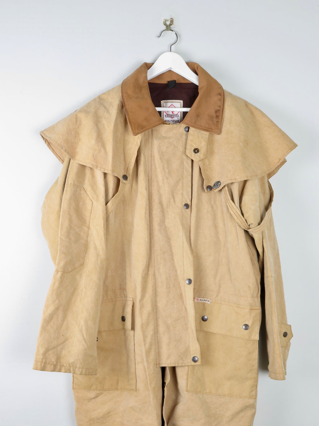 Mens Tan Wax 3/4 Coat L