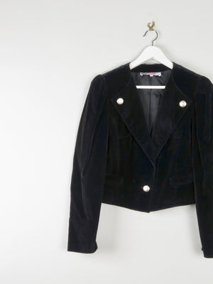 Women's Black Velvet Cropped Jacket 10