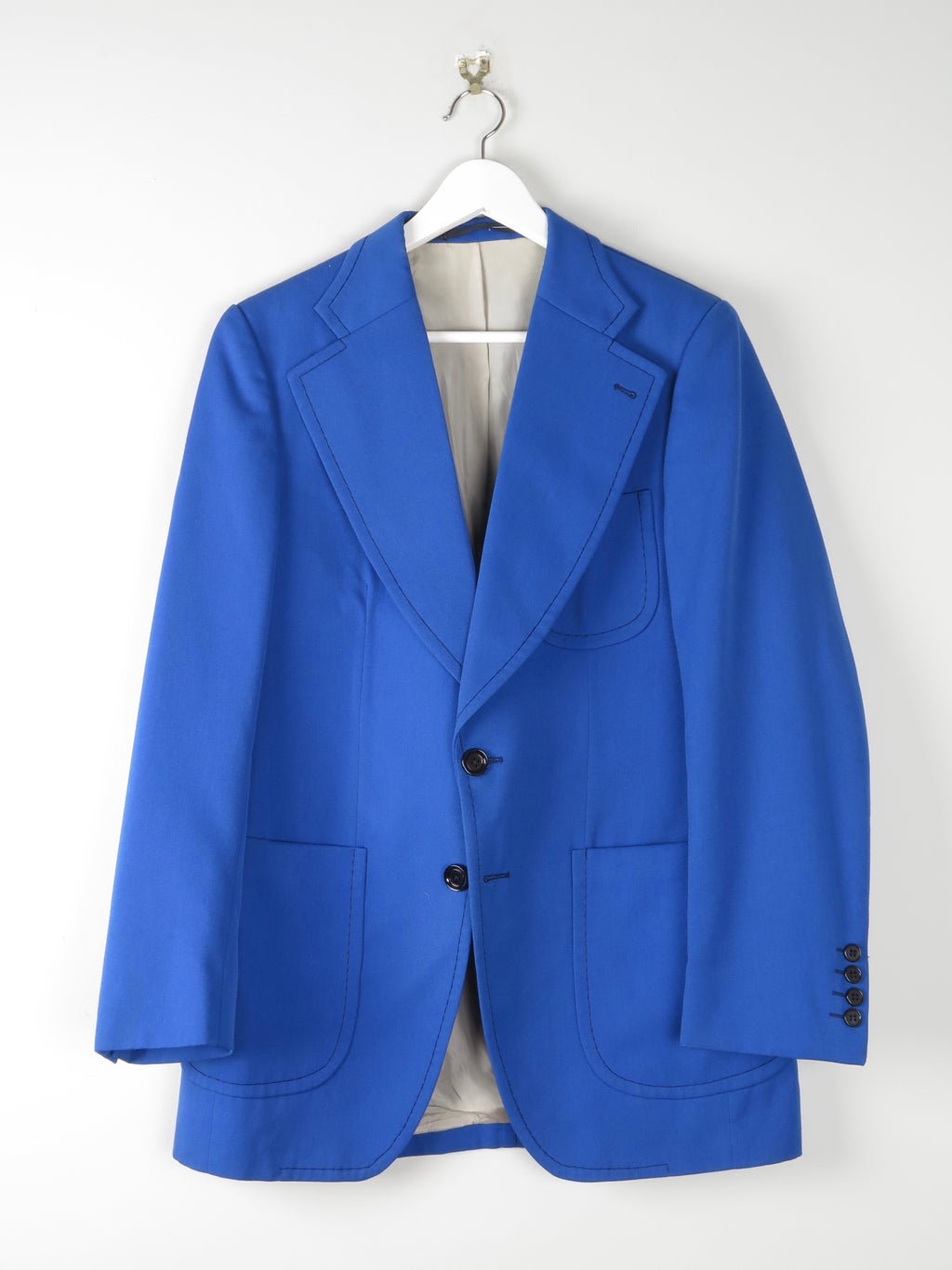 1970s Electric Blue Tailored Jacket 40""