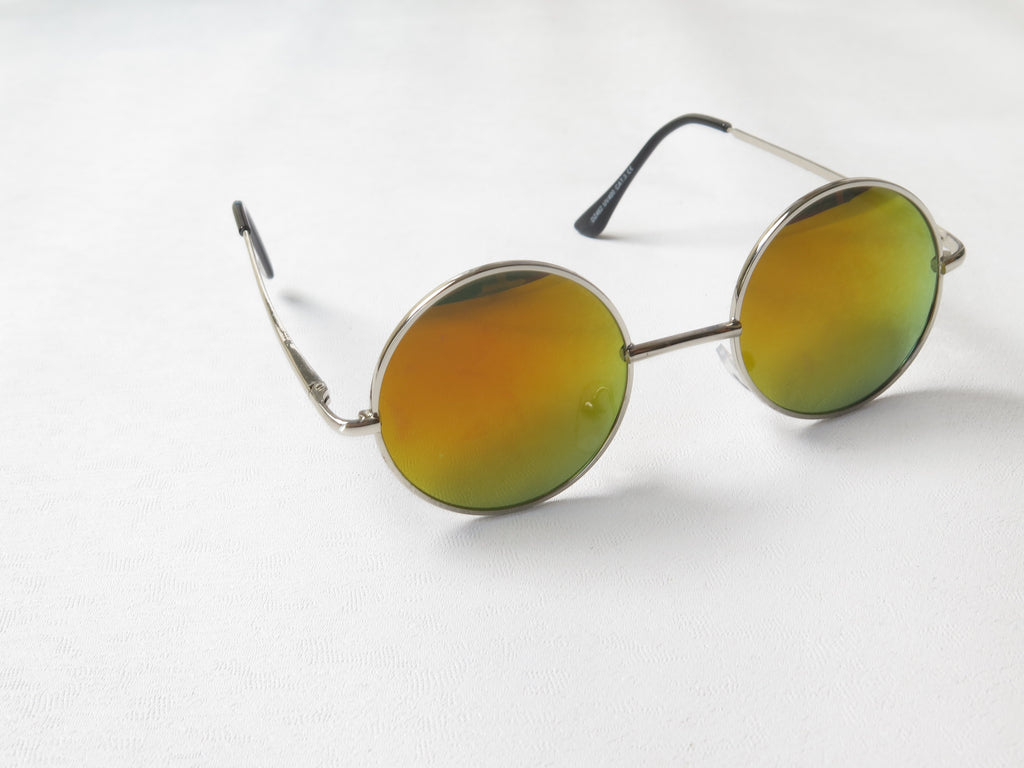 Mirrored Lennon Sunglasses M/Different Coloured Lenses