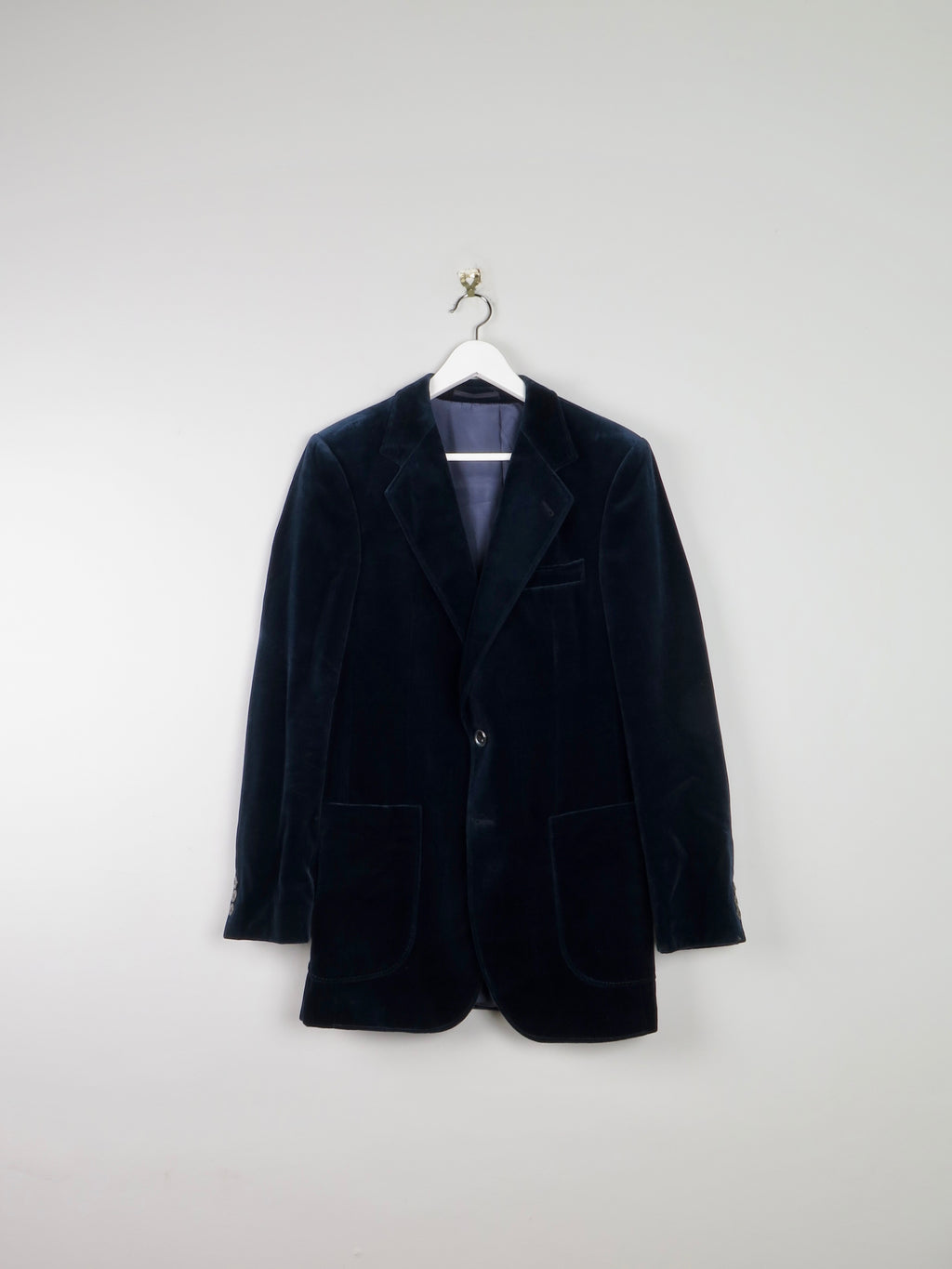 Men's Navy Velvet Jacket 38""