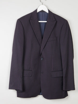 Men's Black Pinsripe Jacket With Pink Stipes