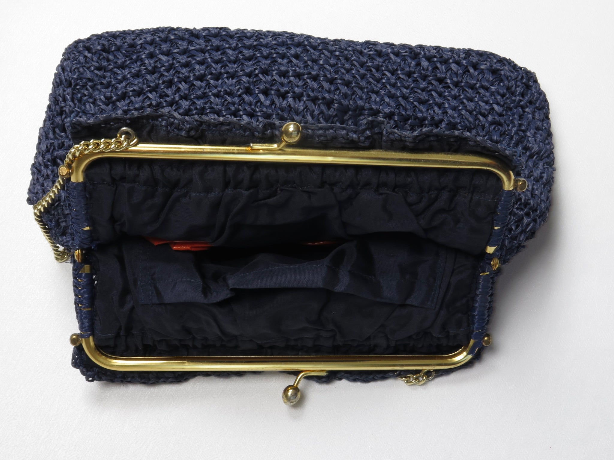 Navy Straw Bag WIth Chain 1960s