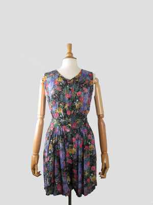 Lovely Floral  1980s playsuit S