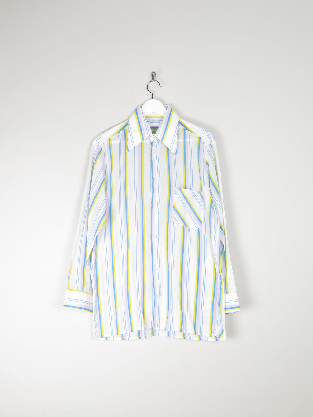 Men's Bright 1970s Colourful Striped Shirt M