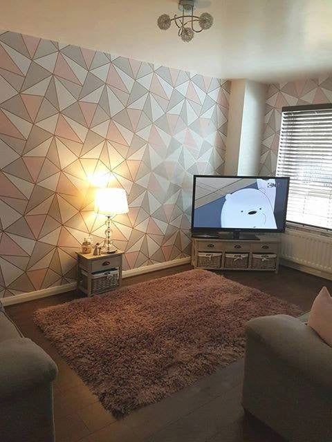 Wonder wallfashions blog real rooms tagged feature for Living room ideas rose gold