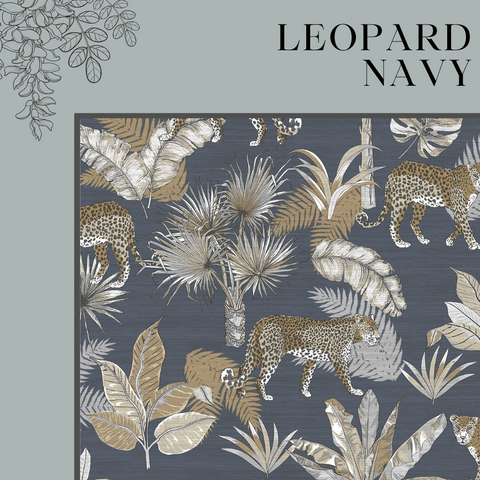 Leopard Navy Wallpaper Jungle Fever by GranDeco