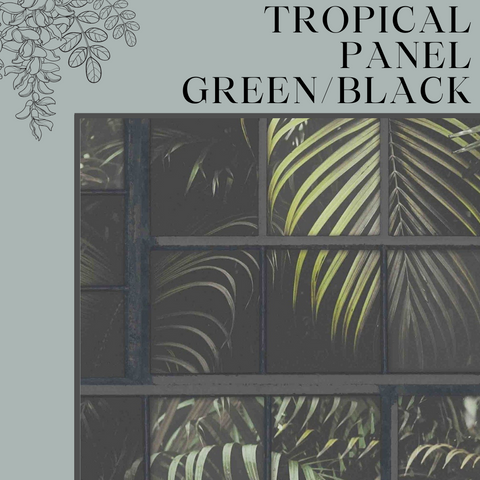 Tropical Panel Green/Black Wallpaper by AS Creation