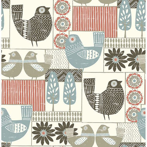 Fine Decor Wallpaper | Hennika Bird Coral/Blue | FD25117