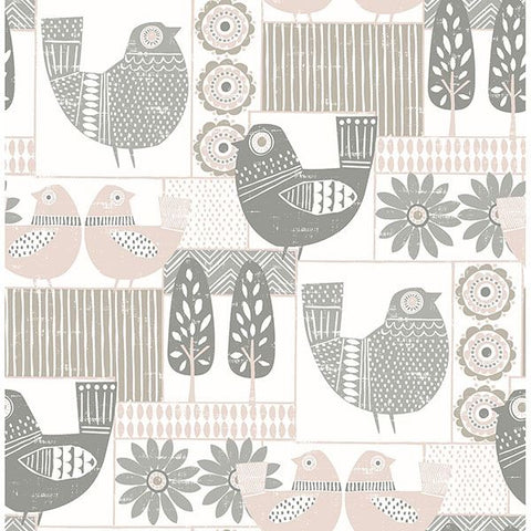 Fine Decor Wallpaper | Hennika Bird Blush Pink | FD25115