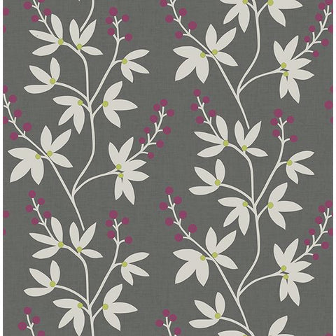 A Street Prints Wallpaper | Linnea Elsa Charcoal/Berry | FD25439