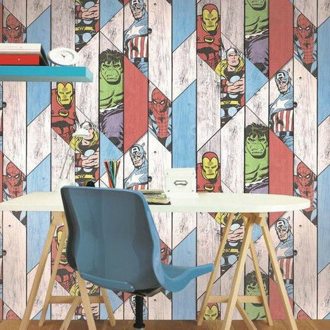 Graham & Brown Wallpaper | Marvel Wood Panel Multi | 102435
