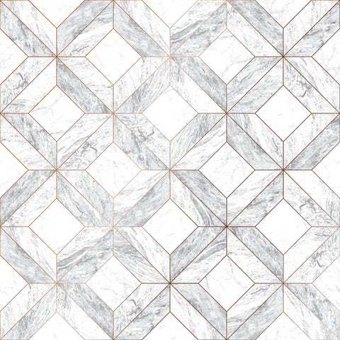 Graham & Brown Contour Wallpaper | Marble Marquetry Grey | 103856