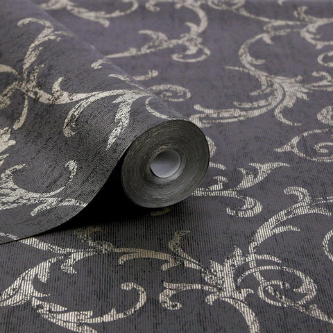 Graham & Brown Wallpaper | Scroll Black/Gold | 104963