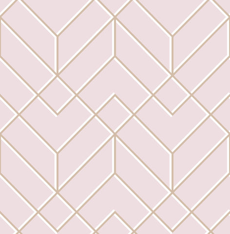 G&B SuperFresco Easy Wallpaper | Losanges Filaires Blush/Rose Gold | 106156