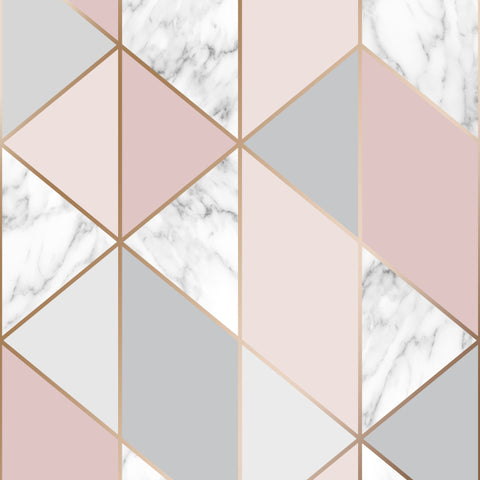 Graham & Brown Wallpaper | Marble Geo Blush Pink | 106503